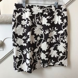 Linen cotton floral knee length skirt